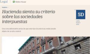 Hacienda sienta su criterio sobre las sociedades interpuestas
