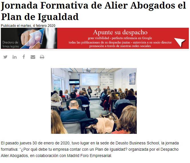 aparición en prensa - lawyerpress - jornada sobre planes d eigualdad - alier abogados