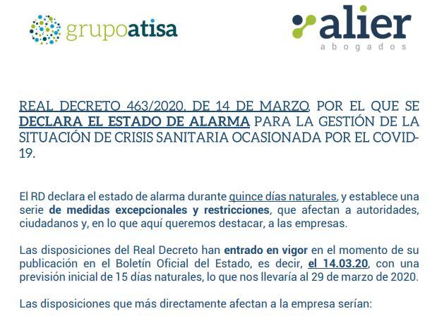 CIRCULAR INFORMATIVA - DECLARACIÓN ESTADO DE ALARMA