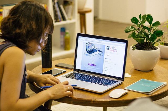 teletrabajo - persona trabajando en casa - ordenador - planta - libros