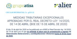 Medidas tributarias excepcionales aprobadas por el Real Decreto Ley 14/2020