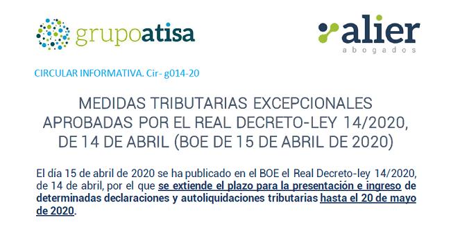 Medidas tributarias excepcionales - Real Decreto Ley 14/2020